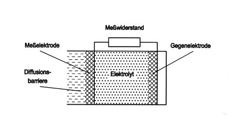 Aufbau Elektrochemischer Sensor (Zwei-Elektrodensensor)